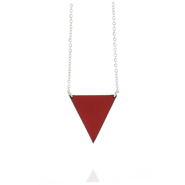 Collier fin original pendentif triangle cuir bordeau
