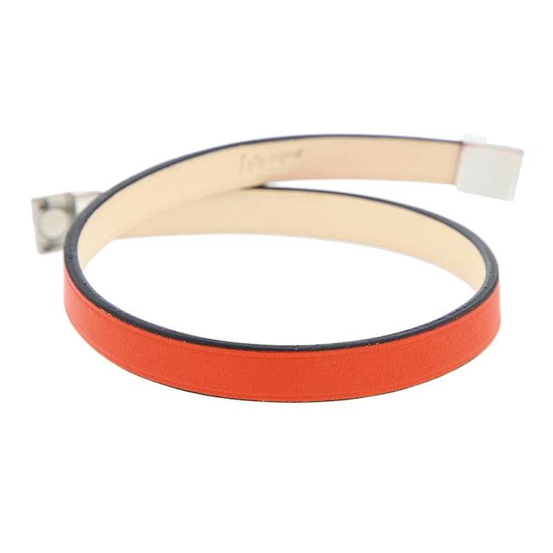 Bracelet en cuir rouge orange rock chic