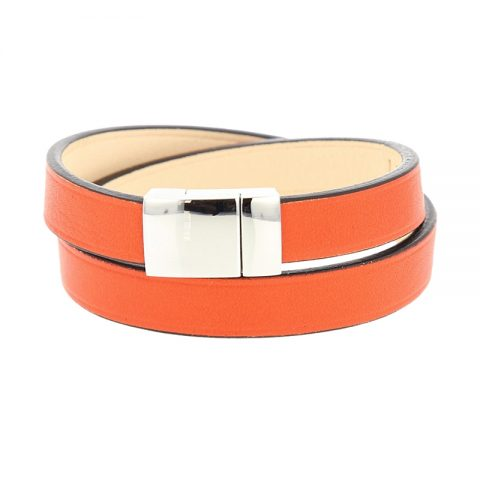 Bracelet double tour en cuir rouge orange luxe