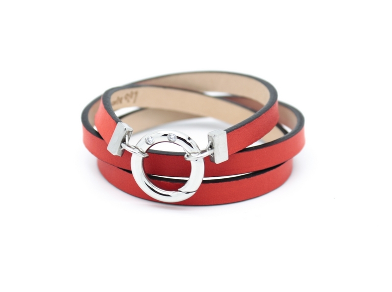 Bracelet femme triple tour en cuir rouge orange