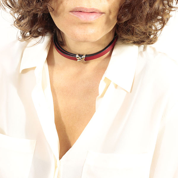 choker cuir rouge sexy