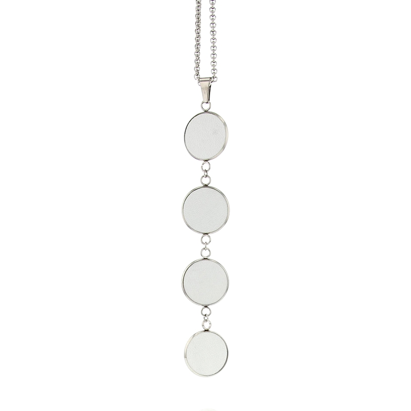 Long collier sautoir fantaisie en cuir blanc